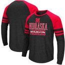 Nebraska Cornhuskers Colosseum Big and Tall Hybrid Raglan Long Sleeve T-Shirt – Heathered Gray/Scarlet
