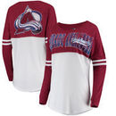 Colorado Avalanche 5th & Ocean by New Era Women's Baby Jersey Long Sleeve Crew T-Shirt - White/Burgundy
