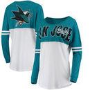 San Jose Sharks 5th & Ocean by New Era Women's Baby Jersey Long Sleeve Crew T-Shirt - White/Teal