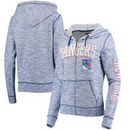New York Rangers 5th & Ocean by New Era Women's French Terry Space Dye Full-Zip Hoodie - Heathered Blue
