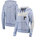 St. Louis Blues 5th & Ocean by New Era Women's French Terry Space Dye Full-Zip Hoodie - Heathered Blue