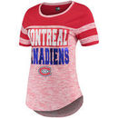 Montreal Canadiens 5th & Ocean by New Era Women's Space Dye Stripe Sleeves T-Shirt - Heathered Red