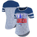 New York Rangers 5th & Ocean by New Era Women's Space Dye Stripe Sleeves T-Shirt - Heathered Royal