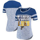 St. Louis Blues 5th & Ocean by New Era Women's Space Dye Stripe Sleeves T-Shirt - Heathered Blue
