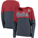 Florida Panthers 5th & Ocean by New Era Women's Tri-Blend Fleece Scoop Neck Pullover Sweatshirt – Red/Navy