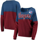 New York Rangers 5th & Ocean by New Era Women's Tri-Blend Fleece Scoop Neck Pullover Sweatshirt – Blue/Red