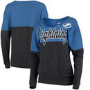 Tampa Bay Lightning 5th & Ocean by New Era Women's Tri-Blend Fleece Scoop Neck Pullover Sweatshirt – Blue/Black