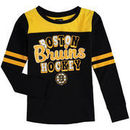Boston Bruins 5th & Ocean by New Era Girls Youth Slub Long Sleeve T-Shirt - Black/Gold