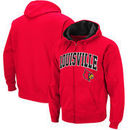 Louisville Cardinals Colosseum Big & Tall Arch and Logo Full-Zip Hoodie - Red