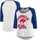 Buffalo Bills 5th & Ocean by New Era Women's Plus Size 3/4-Sleeve Raglan T-Shirt - White/Royal