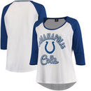 Indianapolis Colts 5th & Ocean by New Era Women's Plus Size 3/4-Sleeve Raglan T-Shirt - White/Royal