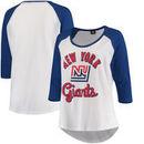 New York Giants 5th & Ocean by New Era Women's Plus Size 3/4-Sleeve Raglan T-Shirt - White/Royal