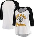 Green Bay Packers 5th & Ocean by New Era Women's Plus Size 3/4-Sleeve Raglan T-Shirt - White/Black