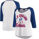 New England Patriots 5th & Ocean by New Era Women's Plus Size 3/4-Sleeve Raglan T-Shirt - White/Royal