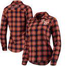 Detroit Tigers Women's Flannel Button-Up Long Sleeve Shirt - Navy