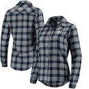 New York Yankees Women's Flannel Button-Up Long Sleeve Shirt - Navy