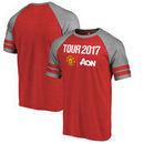 Manchester United Fanatics Branded Summer Tour Three-Quarter Raglan T-Shirt - Red/Heathered Gray