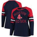 Boston Red Sox Fanatics Branded Women's Plus Size Iconic Raglan Long Sleeve T-Shirt - Navy/Red
