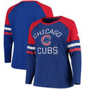 Chicago Cubs Fanatics Branded Women's Plus Size Iconic Raglan Long Sleeve T-Shirt - Royal/Red