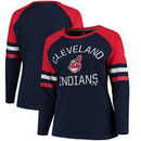 Cleveland Indians Fanatics Branded Women's Plus Size Iconic Raglan Long Sleeve T-Shirt - Navy/Red