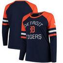 Detroit Tigers Fanatics Branded Women's Plus Size Iconic Raglan Long Sleeve T-Shirt - Navy/Orange