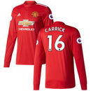 Michael Carrick Manchester United adidas 2017/18 Home Replica Patch Long Sleeve Jersey - Red