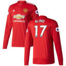 Daley Blind Manchester United adidas 2017/18 Home Replica Patch Long Sleeve Jersey - Red