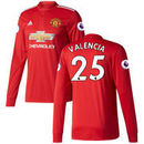 Antonio Valencia Manchester United adidas 2017/18 Home Replica Patch Long Sleeve Jersey - Red