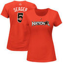 Corey Seager National League Majestic Women's 2017 MLB All-Star Game Name & Number T-Shirt - Orange