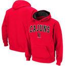 Louisiana Ragin' Cajuns Arch & Logo Tackle Twill Pullover Hoodie - Cardinal