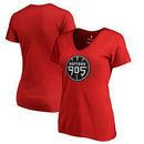 Raptors 905 Fanatics Branded Woman's Primary Logo Plus Size V-Neck T-Shirt - Red