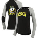 Oregon Ducks Women's Preppy Elbow Patch 2-Hit Arch and Logo Long Sleeve T-Shirt – Black/Gray