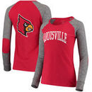 Louisville Cardinals Women's Preppy Elbow Patch 2-Hit Arch and Logo Long Sleeve T-Shirt – Red/Gray