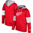 Detroit Red Wings adidas Silver Jersey Pullover Hoodie - Red