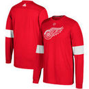 Detroit Red Wings adidas Silver Jersey Long Sleeve T-Shirt - Red
