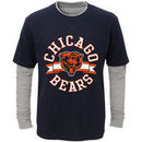 Chicago Bears Youth Fan Gear Definitive Faux Layer Long Sleeve T-Shirt - Navy/Heathered Gray