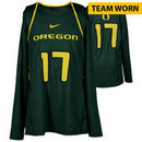 Oregon Ducks Fanatics Authentic Women's Lacrosse Team-Worn #17 Green and Yellow Long Sleeve Jersey used between the 2010 - 2016