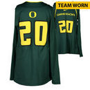 Oregon Ducks Fanatics Authentic Women's Lacrosse Team-Worn #20 Green and Yellow Long Sleeve Jersey used between the 2010 - 2016