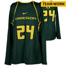 Oregon Ducks Fanatics Authentic Women's Lacrosse Team-Worn #24 Green and Yellow Long Sleeve Jersey used between the 2010 - 2016
