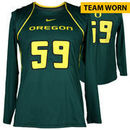 Oregon Ducks Fanatics Authentic Women's Lacrosse Team-Worn #59 Green and Yellow Long Sleeve Jersey used between the 2010 - 2016