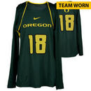 Oregon Ducks Fanatics Authentic Women's Lacrosse Team-Worn #18 Green and Yellow Long Sleeve Jersey used between the 2010 - 2016
