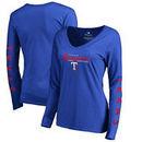 Texas Rangers Fanatics Branded Women's High Class Long Sleeve V-Neck T-Shirt - Royal