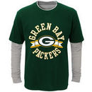 Green Bay Packers Youth Fan Gear Definitive Faux Layer Long Sleeve T-Shirt - Green/Heathered Gray