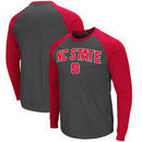 NC State Wolfpack Colosseum Olympus II Raglan Long Sleeve T-Shirt – Heathered Charcoal/Red