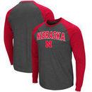 Nebraska Cornhuskers Colosseum Olympus II Raglan Long Sleeve T-Shirt – Heathered Charcoal/Scarlet