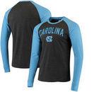North Carolina Tar Heels Colosseum Olympus II Raglan Long Sleeve T-Shirt – Heathered Charcoal/Carolina Blue