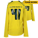 Oregon Ducks Fanatics Authentic Team-Worn Women's Soccer #41 Yellow and Green Long Sleeve Jersey used between the 2011 - 2016 Se