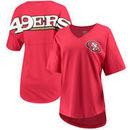 San Francisco 49ers NFL Pro Line by Fanatics Branded Women's Spirit Jersey Goal Line V-Neck T-Shirt - Scarlet