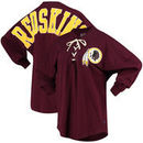 Washington Redskins NFL Pro Line by Fanatics Branded Women's Spirit Jersey Long Sleeve Lace Up T-Shirt - Burgundy