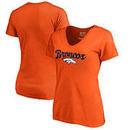 Denver Broncos NFL Pro Line by Fanatics Branded Women's Freehand Plus Size V-Neck T-Shirt - Orange
